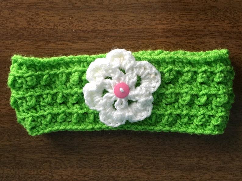 Kid/'s Green Floral Ear Warmer