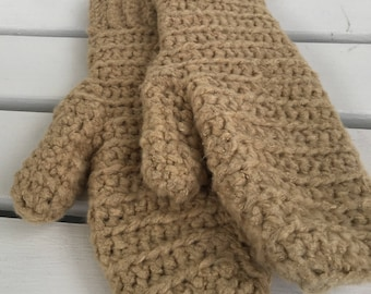 Tan Bamboo Crochet Handmade Mittens - Limited Edition!