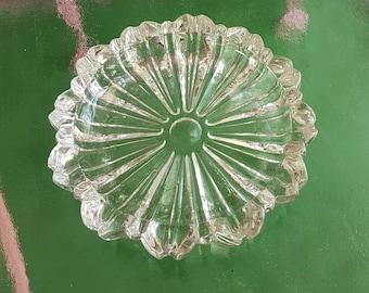 Vintage Rosette Round Glass Ashtray