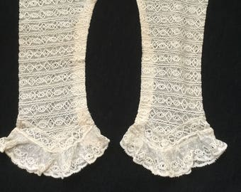 Vintage Victorian Sleeves / Gloves, Handmade Lace Fingerless Gloves