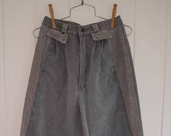 Vintage 80s Gray / Grey Jean Style Pants with Corduroy Detail by OG Organically Grown Size 11