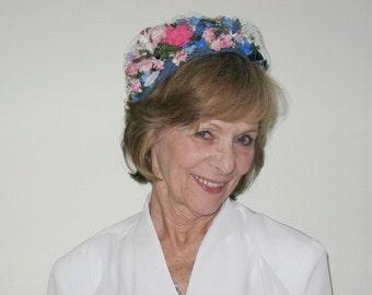 fe6854c0227 Vintage 60s Blue Floral Pillbox Hat
