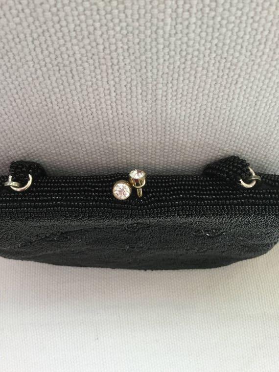 Vintage 50s Beaded Black Mini Evening Bag Purse - image 4
