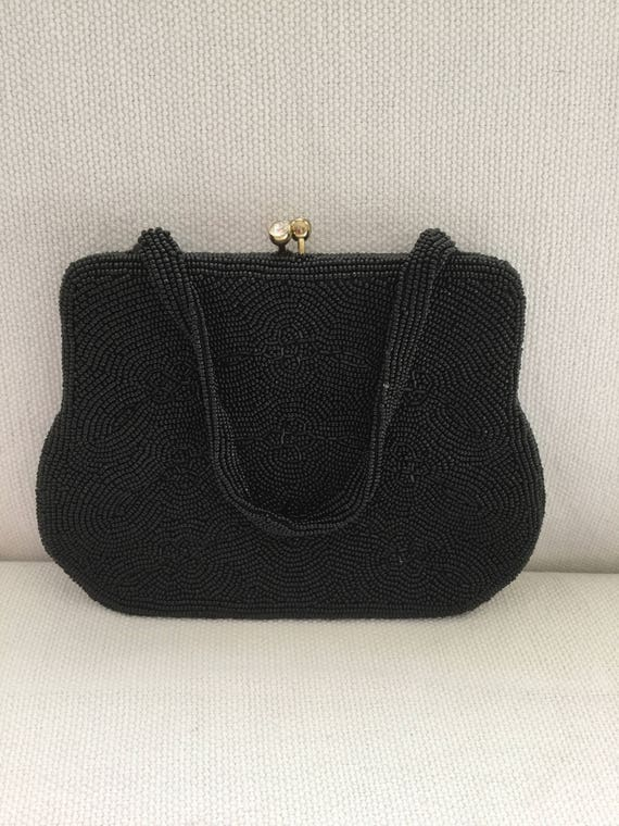 Vintage 50s Beaded Black Mini Evening Bag Purse