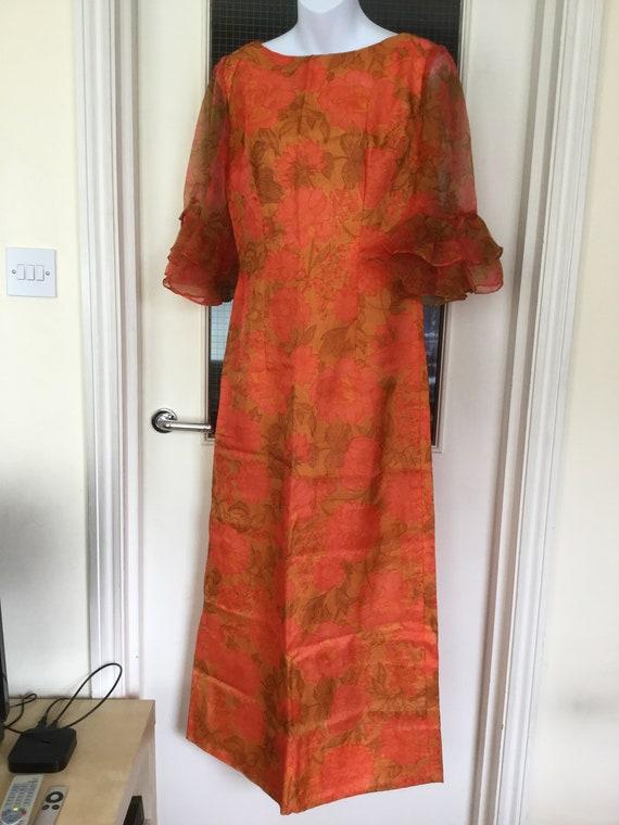 70s vintage peasantpirate blouse 1970s orange ruffled shirt size SM