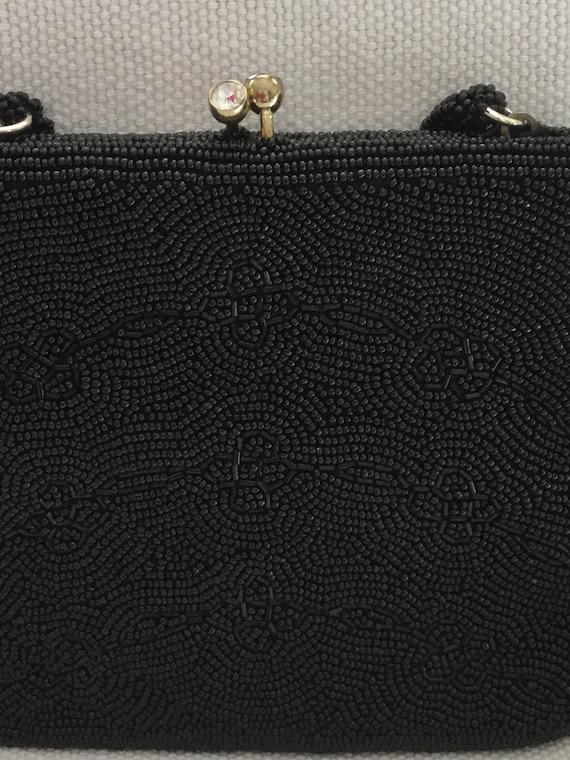 Vintage 50s Beaded Black Mini Evening Bag Purse - image 5