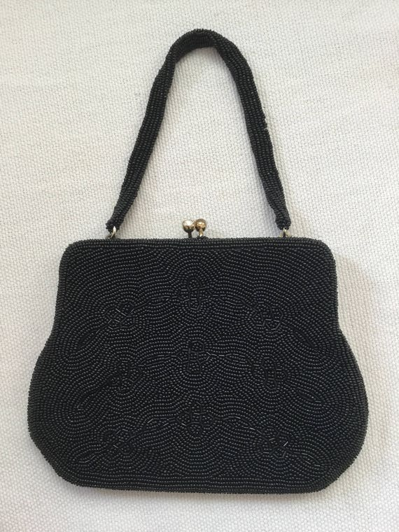 Vintage 50s Beaded Black Mini Evening Bag Purse - image 6