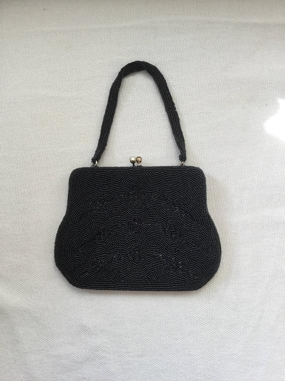 Vintage 50s Beaded Black Mini Evening Bag Purse - image 7