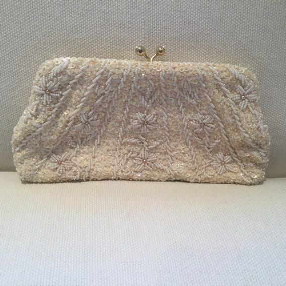 Vintage 60s Beaded Cream and White Mini Evening Ba