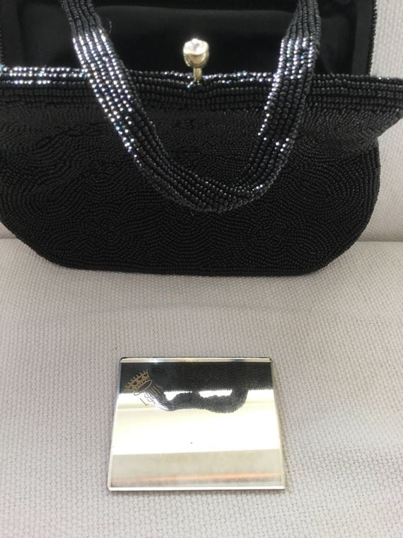 Vintage 50s Beaded Black Mini Evening Bag Purse - image 3