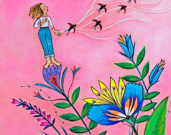 Giclee Canvas Print : The Beauty of Letting Go -Size 12 x 24