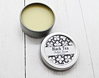 Black Tea Solid Scent, concentrated body fragrance, 1/2oz twist lid tin, natural body perfume, beeswax solid fragrance, warm tea fragrance