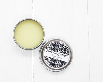 Pink Grapefruit Solid Scent, concentrated body fragrance, 1/2oz twist lid tin, natural body perfume, beeswax solid fragrance, citrus perfume