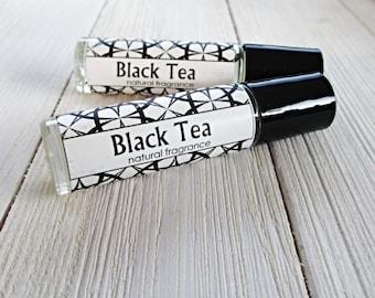 Black Tea Perfume, Choice of 1/3 oz roller bottle, 4oz body mist or 1ml sample size, warm tea fragrance, unisex body scent