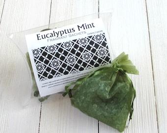 Eucalyptus Mint Sachets, Aroma beads, set of 2 highly fragranced organza bag sachets, scented sachet