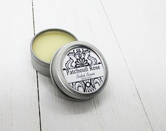 Patchouli Rose Solid Scent, concentrated body fragrance, 1/2oz twist lid tin, natural body perfume, beeswax solid fragrance