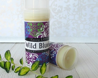 Wild Blueberry Lotion Bar, Shea and cocoa butter Solid lotion stick, intense moisturizing formula, travel friendly lotion