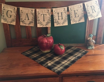 Gather Banner / Hand Stamped Fall Decor / Old Book Pages /Vintage Books