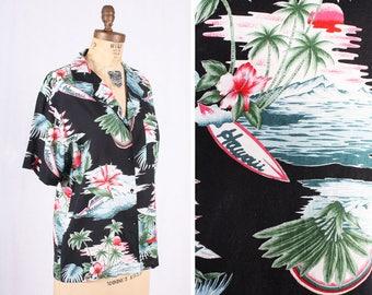 0f87c268056a MAUI WOWI Vintage 1980s Diane Von Furstenberg V-Neck Hawaiian Surfer Shirt    Size 12