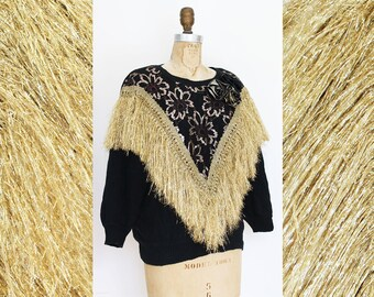 571cd08227e9 ALL THAT GLITTERS 80s Gold Fringe Metallic Floral Knit Sweater   Size Small
