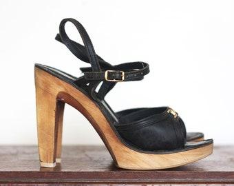 4a9163910e70 SKY HIGH Vintage 1970s Leather and Wood Platform Heels   Size 7