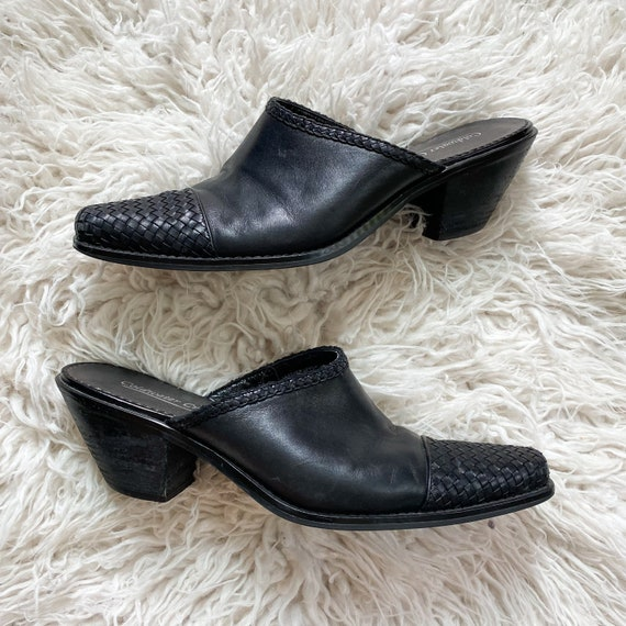CHARLOTTE vintage 90s black woven leather mules - image 7