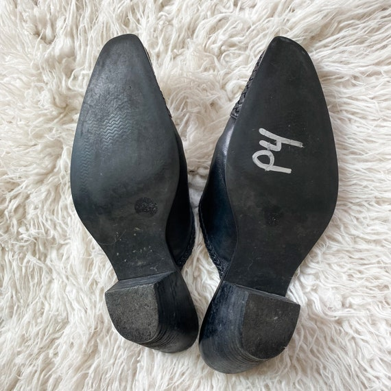 CHARLOTTE vintage 90s black woven leather mules - image 9