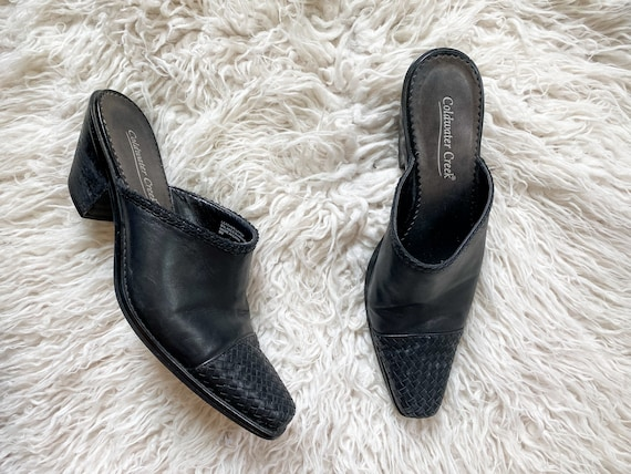 CHARLOTTE vintage 90s black woven leather mules - image 4