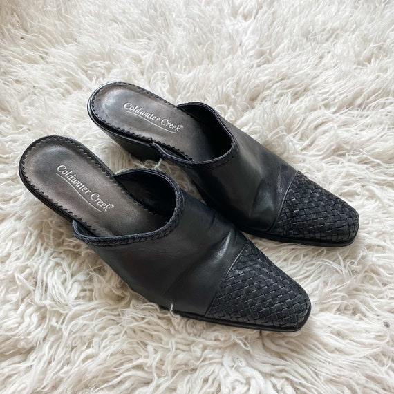 CHARLOTTE vintage 90s black woven leather mules - image 5