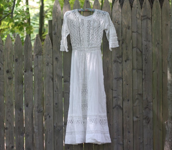EMILIA antique edwardian lawn dress / white cotton