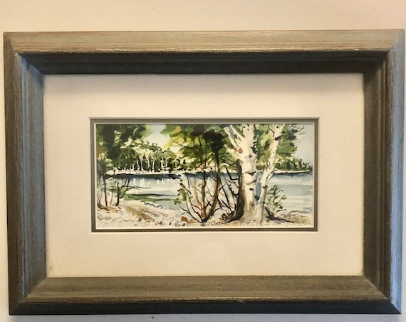 Framed Watercolor  -  Michigan Artist Watercolor Art  -  Small Watercolor  -  Curated by BeckyPaints