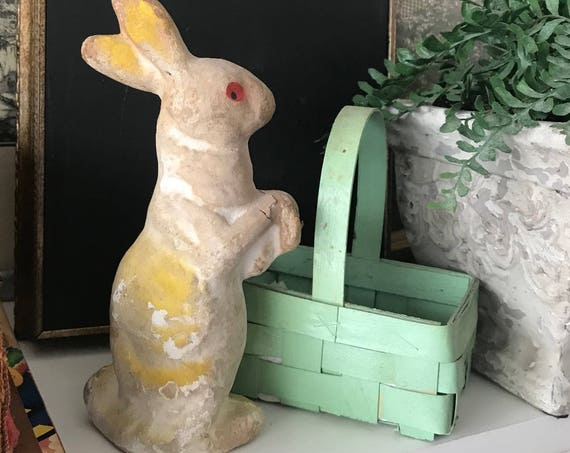 Vintage Mid Century Easter Bunny of Paper Mache, Easter Rabbit Antique Collectible, Curated by BeckyPaints