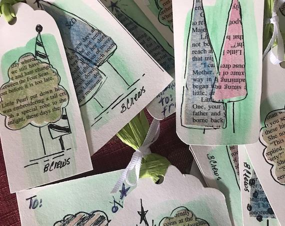 Christmas Tags, Handmade Tags, PaintATreeADay ART Tags, Gift Tags, Christmas Handmade Tags, By BeckyPaints