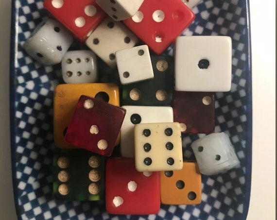 Vintage Dice Collection, Wood, Bakelite, Plastic, and Acrylic Dice, Curated by BeckyPaints