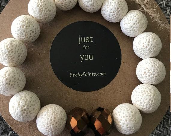 Lava Rock Diffuser Beaded Bracelet, Stretch Bracelet, 14mm Beaded Bracelet, Handcrafted Bracelet by BeckyPaints