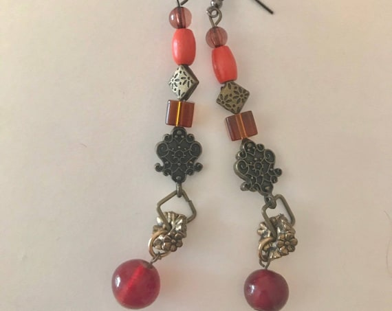 Drop Dangle Earrings, Red n Orange w Antique Metals, Curated Vintage Beads n New Twendy Beads on Earring Hooks, Handcrafted by BeckyPaints