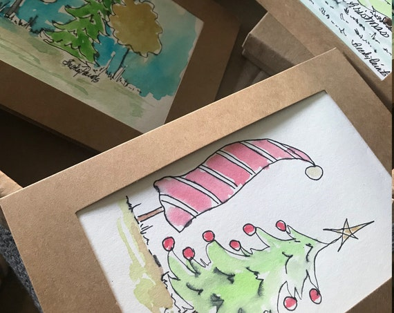 Christmas Cards - Handpainted Cards - Set of 4 With Envelopes  - Holiday Watercolor Cards - PaintATreeADay ART Holiday Cards by BeckyPaints