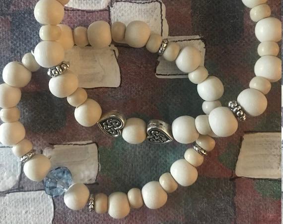White Wooden Stretch Bracelet, Wood Bead Bracelet, Stacking Wooden Blue Bracelets, Handcrafted by BeckyPaints