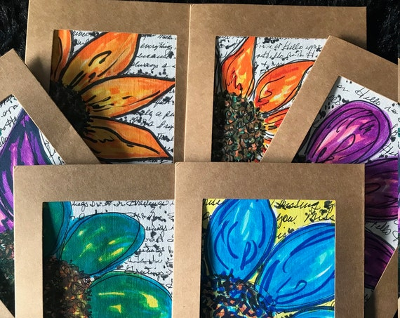 Hand Painted Greeting Cards -Set of 6 Blank Cards - Art Greeting Cards - Handmade Cards - Greeting Cards w Envelopes by BeckyPaints