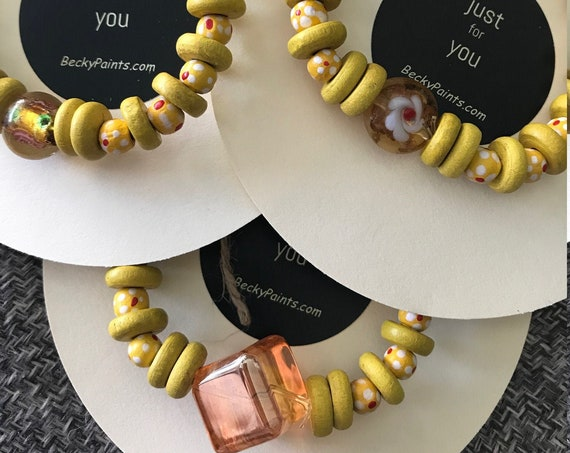 Yellow Wooden Beaded Stretch Bracelet, Yellow Stretch Stacking Bracelet, Glass Beads Recycled, Handmade JustForYou Bracelet by BeckyPaints