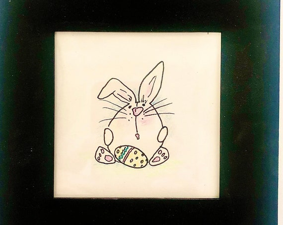 Nursery and Kids Room Art  |  Bunny Drawing  |  Framed Whimsical Bunny Art  |  Easter Bunny  |  Hand Painted by BeckyPaints
