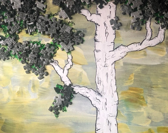 Puzzle Acrylic Painting  -  JigSaw Puzzle ART  -  Acrylic Painting on Canvas  -  Puzzle ART  -  Hand Painted by BeckyPaints