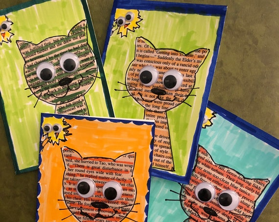Googly Eye Kitty w Friend Note Cards  -  Set of 4 Kitty Blank Notecards -  Hand Painted Kitty & Friend Blank Cards - Handmade by BeckyPaints