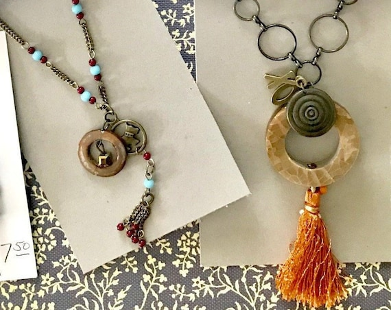 Tasseled Handmade Charms n Pendant Necklaces Available to Personalize Designed with  Upcycled Old Beads by BeckyPaints