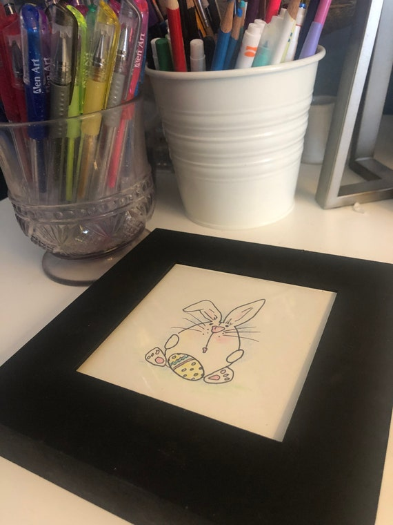 Framed Bunny Art  |  Chalkboard Framed Rabbit Art  |  BeckyPaints Bunny Art  |  Easter Art  |  Hand Painted by BeckyPaints