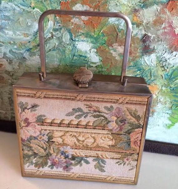 Vintage Bag, Petit Point Tapestry Mid Century Brass Edged and Handled Purse with Beautiful Inside Curated by BeckyPaints