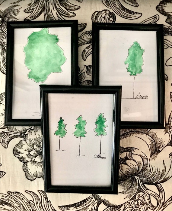 Pen n Ink Drawings with Acrylic Painting Framed, 6 x 4 PaintATreeADay ART, Selection of 3 by BeckyPaints