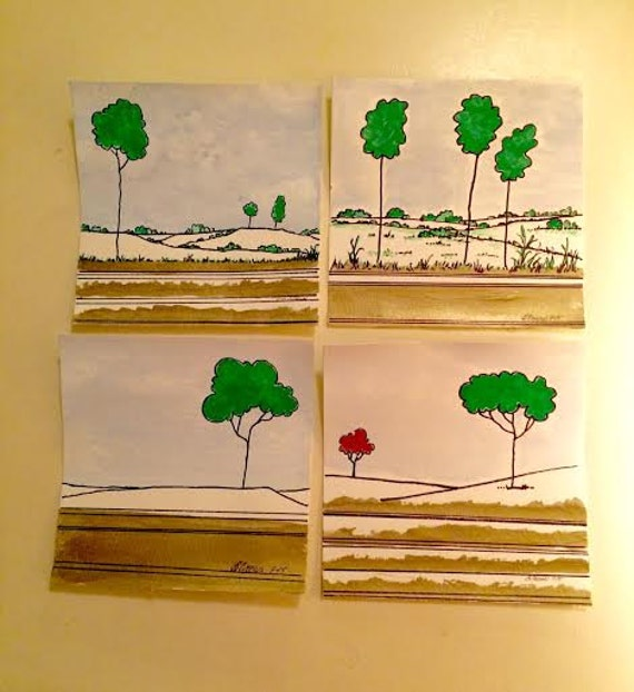 "PaintATreeADay ART 8x8"" Series of Stylized Trees and landscape in Gold, Acrylic Original Painting on Watercolor Paperby BeckyPaints"