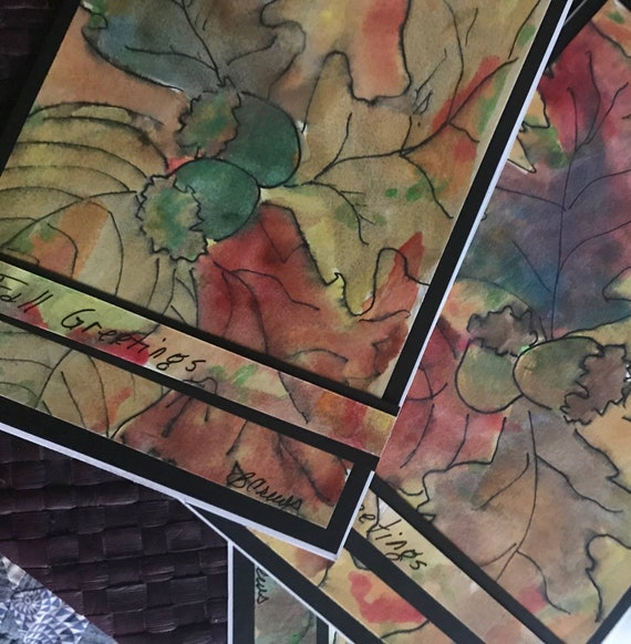 Fall Greeting Blank Cards Handmade Watercolor Art with Envelopes Large 5 1/2 x 8 1/2 by BeckyPaints