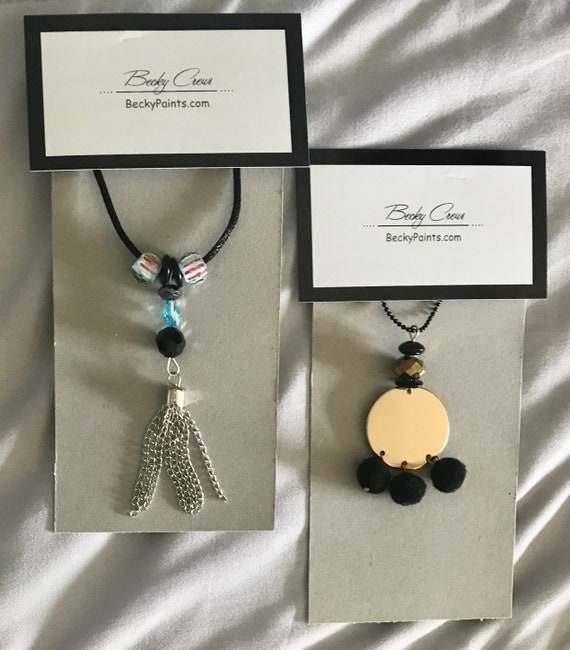 2 Pendant Necklaces, PomPom Necklace on Black Ball Chain, Blue n Black Bead Necklace  w Silver Tassel on Black Silk Cord by BeckyPaints
